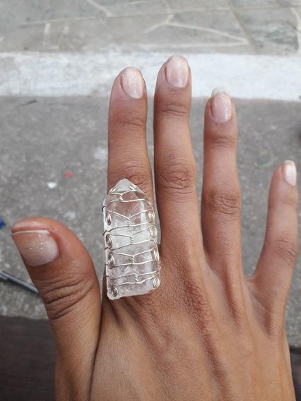 Anel Artesanal De Filigrana Com Cristal Bruto