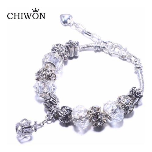 Pulseira Bracelete Tipo Pandora Com Berloque Coroa Branca 26