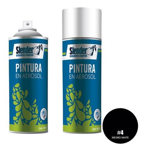 Imagen 1 de 6 de Pintura Spray Slender 400ml Interior Exterior Negro Mate (4)