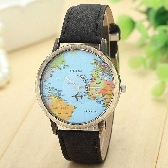 Wanderlust | Reloj De Viajero Por El Mundo Mapa Del Mundo