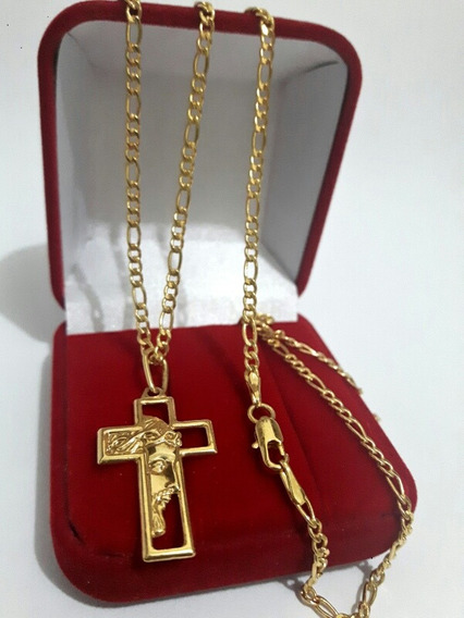 Cordão Colar Folheado A Ouro Pingente Crucifixo Face Jesus