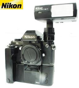 Câmera Nikon F3 Hp Com Motor Drive Nikon Md4 E Flash Sb17