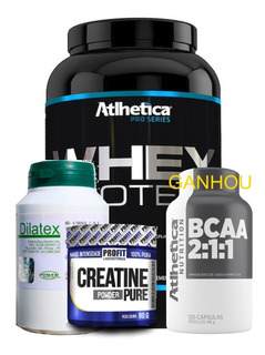 Compre Whey 1kg + Dilatex 152 Cps + Creatina Ganhe Bcaa 120c