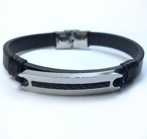 Bracelete Rosso Couro 21,5cm Preto.