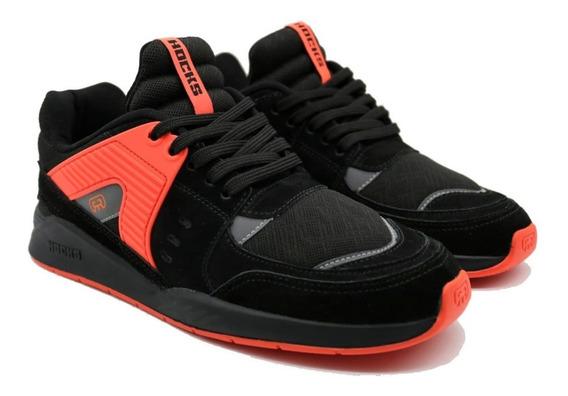 Tênis Hocks Pulsus Sneaker Preto Black Laranja Original
