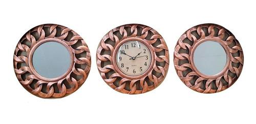 Imagen 1 de 5 de Reloj Pared Redondo Con 2 Espejos Mural Cobre 25cm