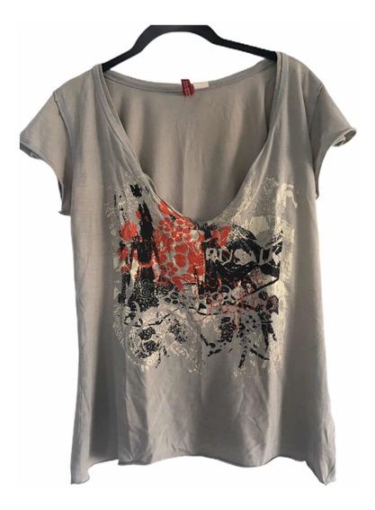 Remera De Mujer Importada Marca H&m Estampada Modelo Rock