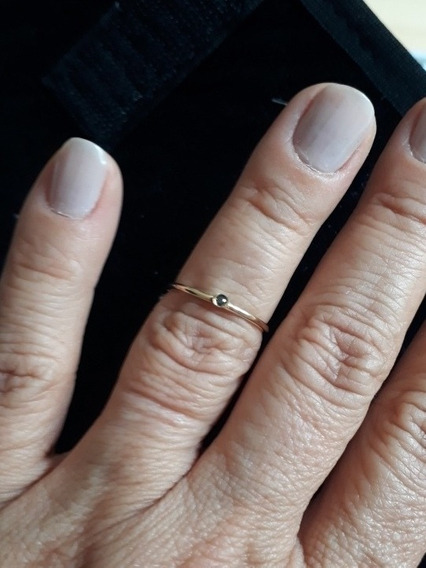 Anel Solitário Ouro 18k, Ponto De Luz Diamante Negro 0.03pts