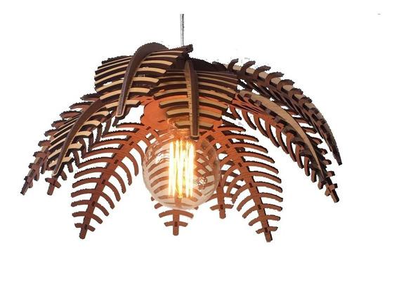 Lustre Luminária Pendente Madeira Natural Rústica