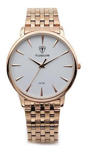 Relógio Feminino Tuguir Analógico 5041 Rose E Branco