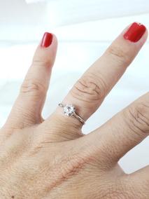 Anel Solitario Vintage Ouro Branco Com Diamante 35 Pontos