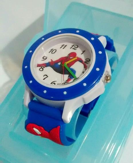 Relógio Infantil Super Herois Homem Aranha Com Caixinha Barato Oferta