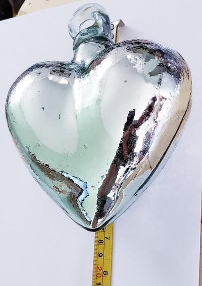 Corazón Espejo Vidrio Soplado Fina Artesanía Argolla 18 Cm