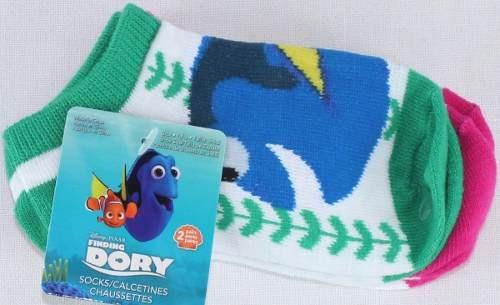 2 Pares De Calcetines Disney Dory Y Nemo Verde T- 12/14 Mex.