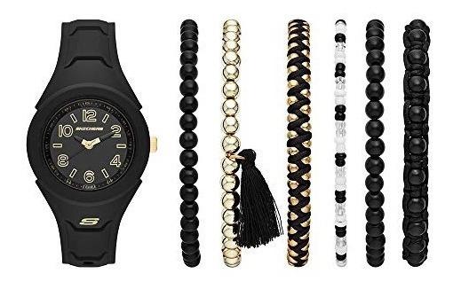 Skechers Sr9021 Reloj Para Mujer, Correa Silicon Negro, Car