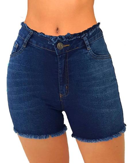 Kit 5 Short Jeans Feminino Bermuda Cintura Alta Lycra Luxo