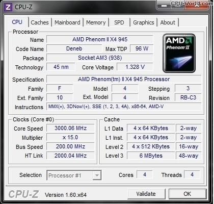 Processador Amd Skt Am2+ / Am3 Phenom Ii X4 945 3,0 Ghz Oem