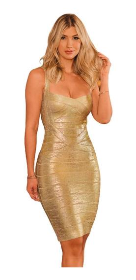 Vestidos Femininos Bandagem Dourado