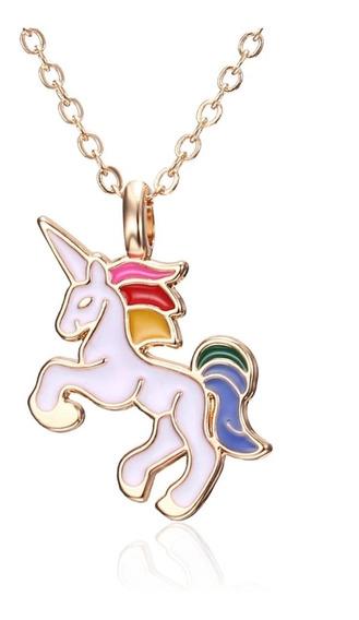 Collar Unicornio Para Niñas Blanco Bisuteria Mayoreo