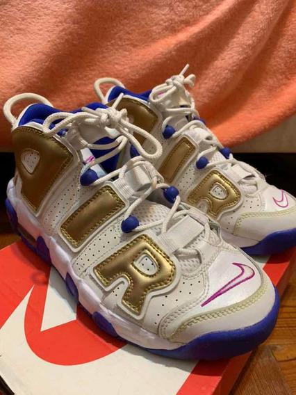 Nike Uptempo Mujer Originales Blanco Azul Dorado Importadas