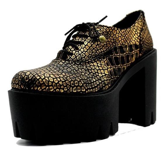 Zapatos Mocasines Mujer Oficina Cuero Dorado Leblu 434