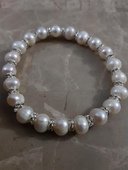 Pulcera De Perlas Con Plata Y Cristal