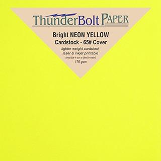 250 Cartulinas Fluorescentes De Color Amarillo Neon Brillant