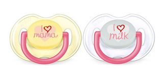 Chupete Silicona Avent Bebe I Love Mama & Milk Blister X2