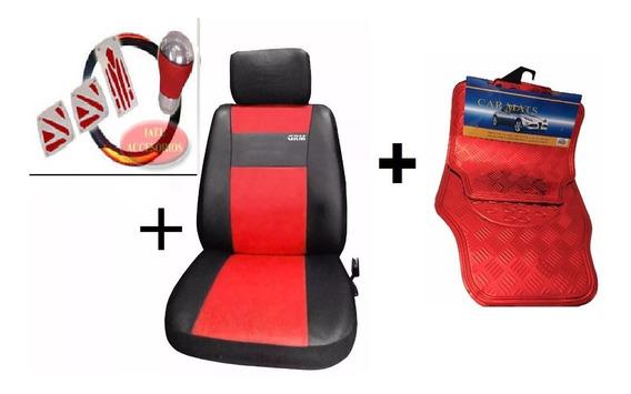 Fundas Cubre Asiento + Cubre Alfombras X4 Cubre Volante Rojo