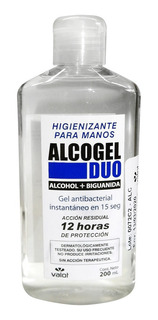 Sanitizante Manos Alcohol Gel Biguanida X 200ml Unico 12 Hs!