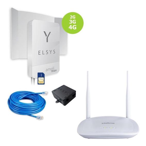 Kit Elsys Link Amplimax 4g Internet E Telefonia Móvel Rural + Roteador Wi-fi Intelbras + Cabo 10 Metros