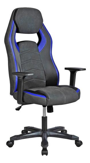 Cadeira Gamer Exeway Estofada, Preta/azul