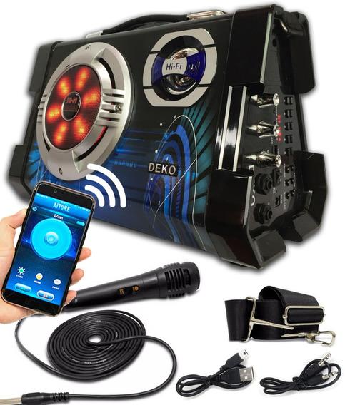 Caixa De Som Amplificada Com Bluetooth Microfone Sd Pendrive