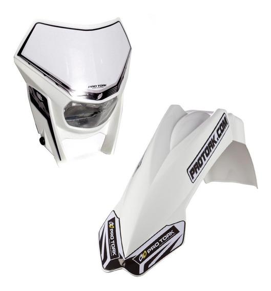 Kit Paralama Dianteiro Mx2+carenagem Pro Tork Cross Branco