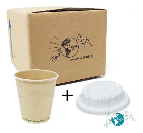 Lagnie 50 Vasos Bambú Biodegradables 10 Oz Con Tapa 295 Ml