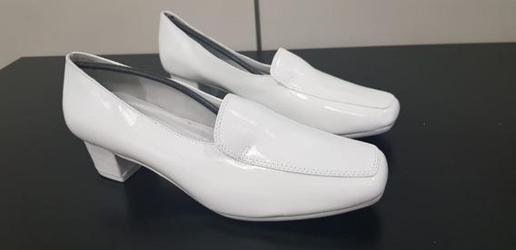 Sapato Mocassim Feminino Branco Social Em Couro Marinha