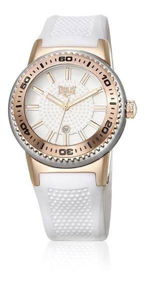 Relógio Everlast Pulseira Silicone Caixa Aço Feminino