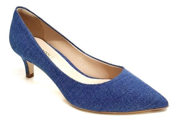Sapato Feminino Salto Baixo Azul Jeans Cecconello 971001