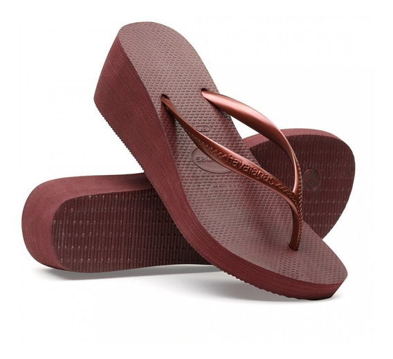 Chinelo Feminino Havaianas High Fashion Vinho De Uva - Salto