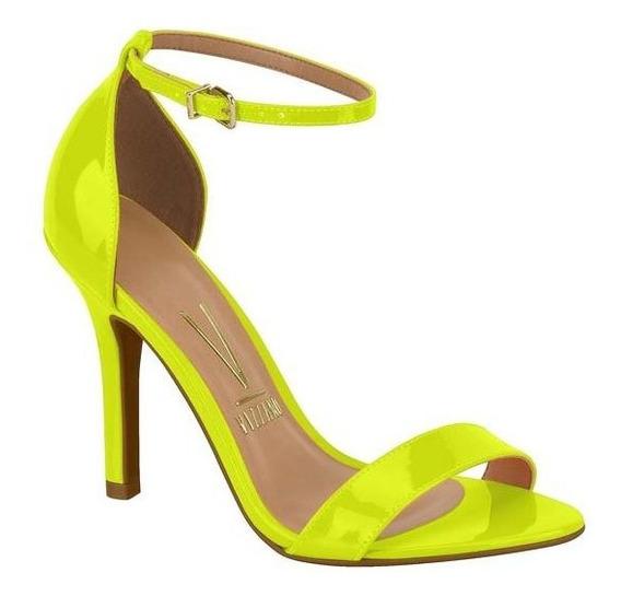 Sandália Salto Alto Fino Amarela Neon Verniz Vizzano 6249152