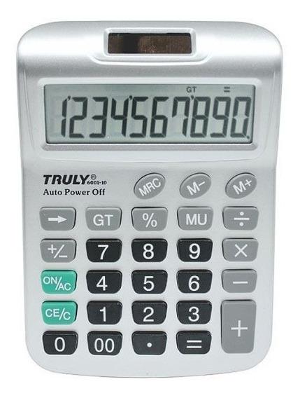 Calculadora De Mesa Truly 6001-8 - 8 Dígitos, Cor Prata