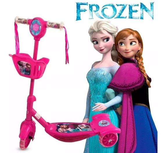 Patinete Frozen Cesta Luz Som Modelo Novo 2019 3d Promoção