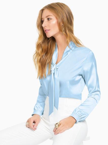 Blusa De Cetim Feminina Azul Elizabet
