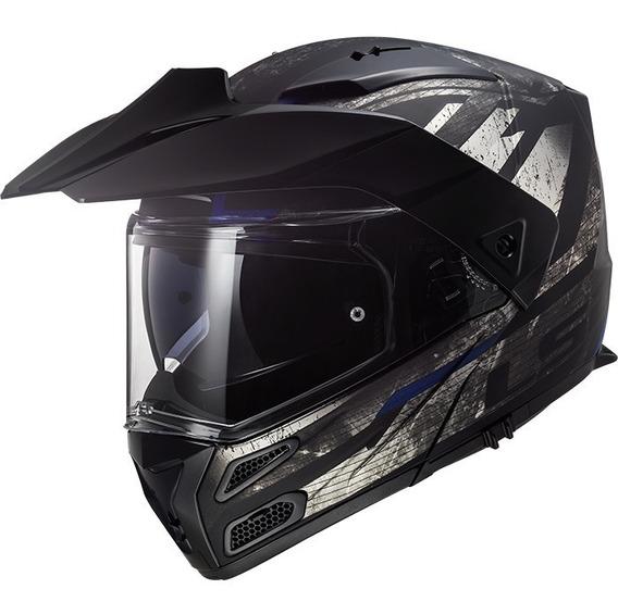 Casco Doble Proposito Moto Ls2 Metro Evo Buzz Gris Abatible