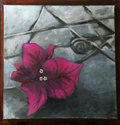 Cuadro Pintura Original - Bugambilia En El Pavimento