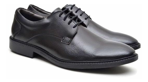 Sapato Social Preto Em Couro Marca Fork