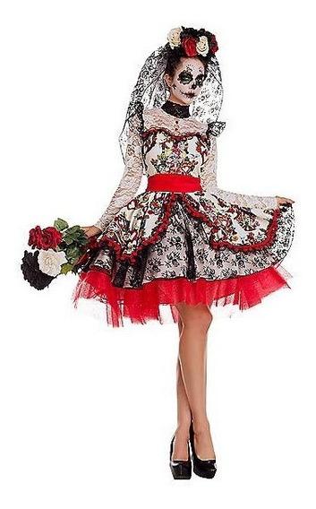 Disfraz Adulto Mujer Dia De Muertos Vestido Catrina Novia