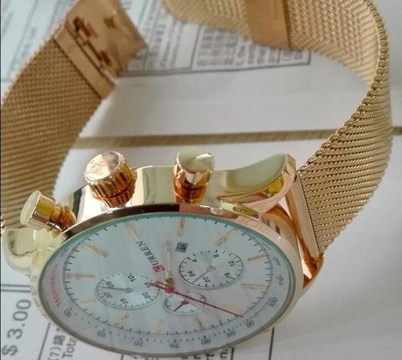 Relógio Dourado Ou Preto Masculino Curren Quartzo Original