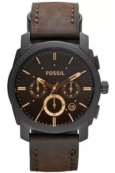 Relógio Masculino Fossil Analógico Couro Marrom Original
