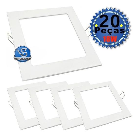 Painel Plafon 18w Luminária Led Embutir Spot Gesso 20 Uni